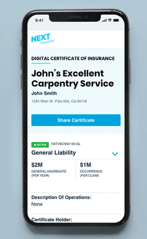 Get instant access to a digital certificate of insurance