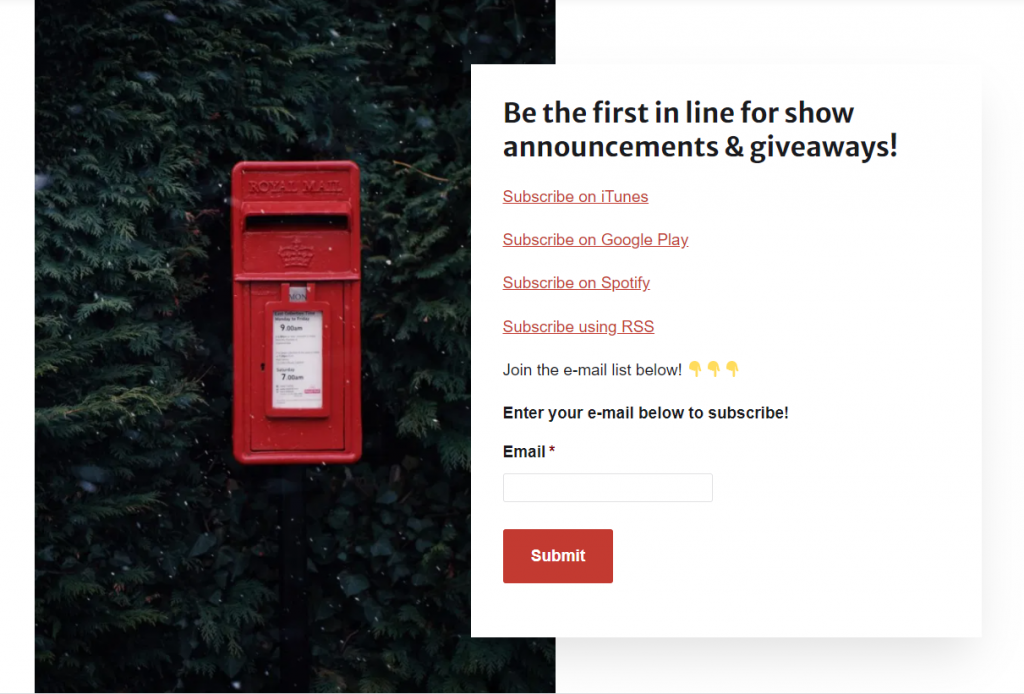 red post box announcements giveaways